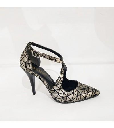 Gri Bantlı Stiletto Bayan Abiye  Ayakkabı
