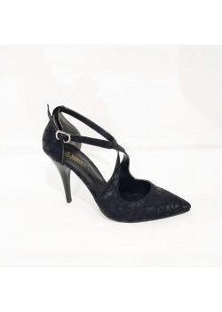 Siyah Bantlı Stiletto Bayan Abiye Ayakkabı
