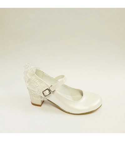 Sanbe Topuklu Beyaz Kız Çocuk Abiye Ayakkabı