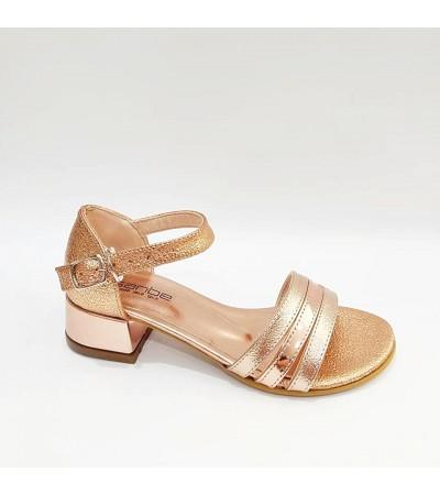 Sanbe Tek Bant Topuklu Gold Kız Çocuk Abiye Ayakkabı