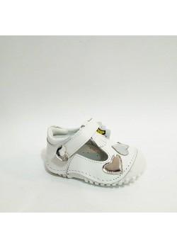 Sanbe Beyaz Hakiki Deri Tam Ortopedik Cırtlı İlk Adım Kız Bebek Ayakkabısı