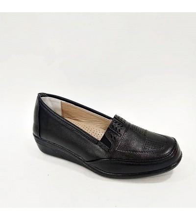 Hakiki Deri Tam Ortopedik Siyah Bayan  Anne Ayakkabısı