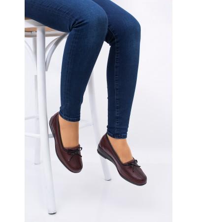 Anne Ayakkabısı Bordo  Günlük Tam Ortopedik Hakiki Deri Taban 049