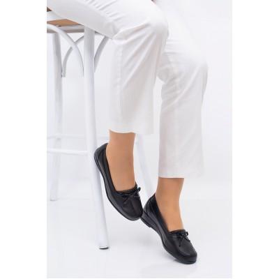 Anne Ayakkabısı Siyah  Günlük Tam Ortopedik Hakiki Deri Taban 049
