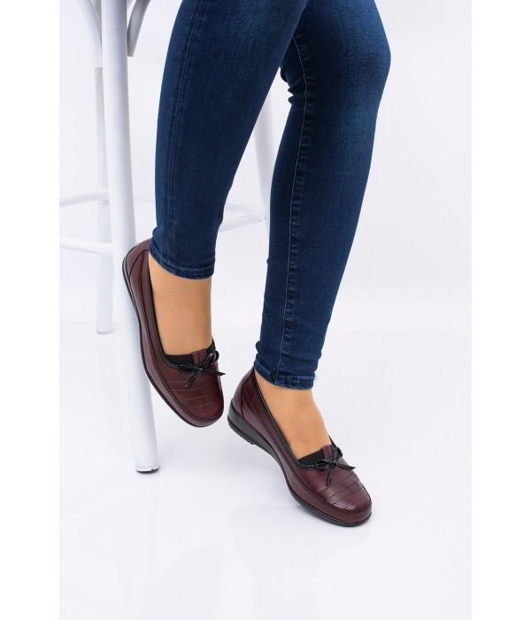 Anne Ayakkabısı Bordo  Günlük Tam Ortopedik Hakiki Deri Taban 08