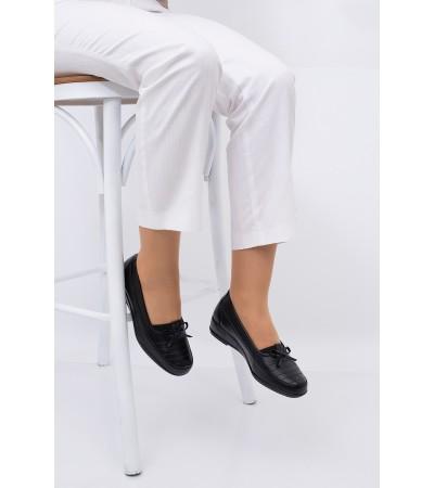 Anne Ayakkabısı Siyah Günlük Tam Ortopedik Hakiki Deri Taban 08
