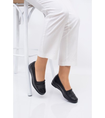 Anne Ayakkabısı Siyah  Günlük Tam Ortopedik Hakiki Deri Taban 212