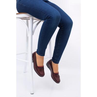 Anne Ayakkabısı Bordo Günlük Tam Ortopedik Hakiki Deri Taban 222
