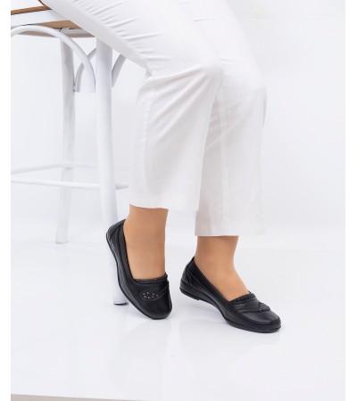 Anne Ayakkabısı Siyah Günlük Tam Ortopedik Hakiki Deri Taban 222
