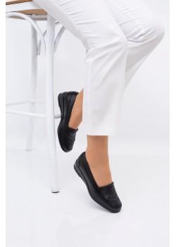Anne Ayakkabısı Siyah Günlük Tam Ortopedik Hakiki Deri Taban 427