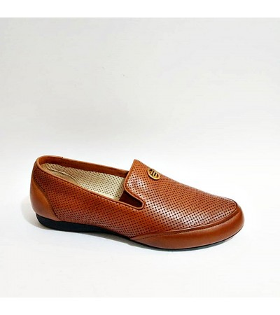 Atiker Hakiki Deri Taba Yazlık Bayan Ayakkabı
