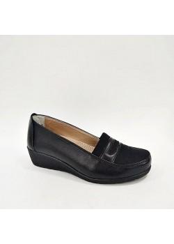 Hakiki Deri Tam Ortopedik Siyah Anne Ayakkabısı
