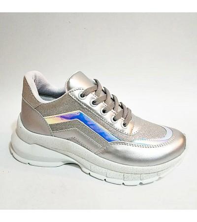 Gri Simli Yüksek Taban Bağcıklı Bayan Spor Ayakkabı