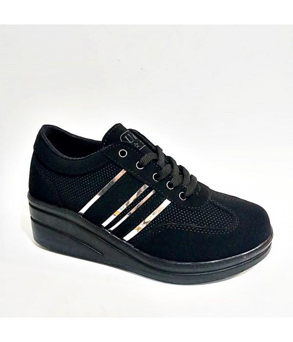 Dolgu Topuk Fermuarlı Bağcıklı Siyah Bayan Spor Ayakkabı