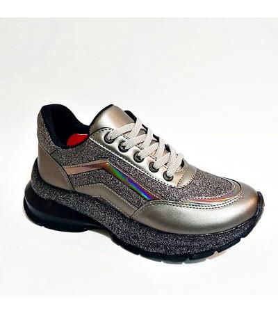 Gri Füme Simli Yüksek Taban Bağcıklı Bayan Spor Ayakkabı