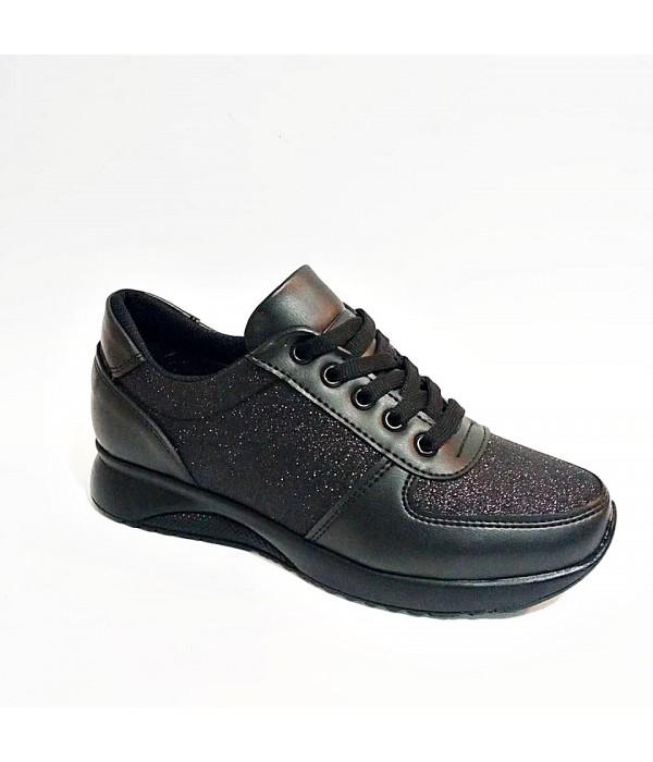 Endeles Siyah Simli Bayan Spor Ayakkabı