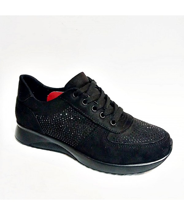 Endeles Siyah Taşlı Bayan Spor Ayakkabı