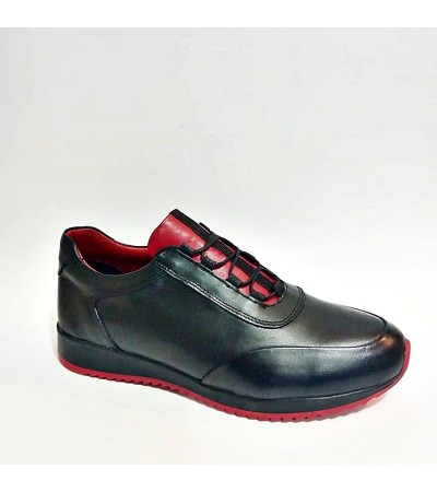 Hakiki Deri Siyah Kırmızı Ortopedik Erkek Spor Ayakkabı