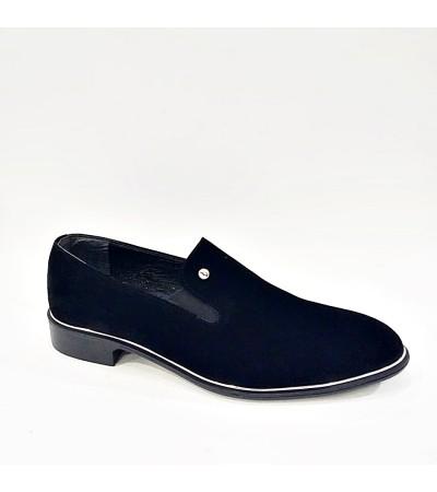 Siyah Süet Erkek Bağcıksız Damat Ayakkabısı