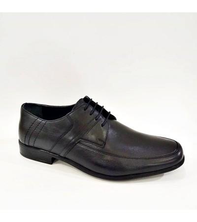 44 45 46 Büyük Numara Hakiki Deri Siyah Bağcıklı Erkek Kundura Ayakkabı