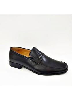 44 45 46 Büyük Numara Hakiki Deri Siyah Bağcıksız Erkek Kundura Ayakkabı