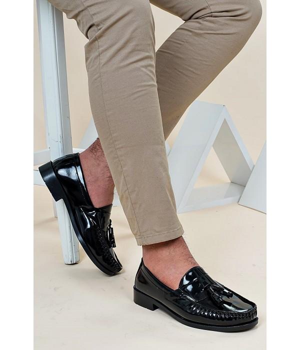 Corcik Siyah Rugan Erkek Kundura Ayakkabı