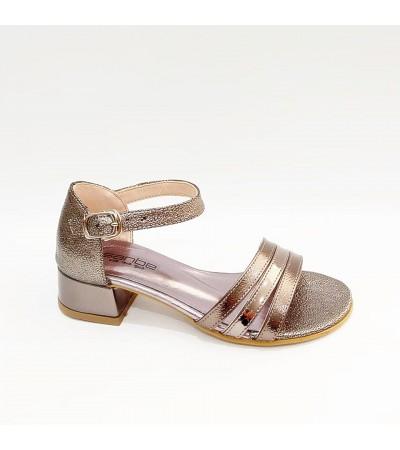 Sanbe Topuklu Platin Renk Kız Çocuk Abiye Ayakkabı