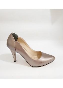 Vizon Gümüş Parlak İnce Topuklu Bayan Abiye Stiletto Ayakkabı