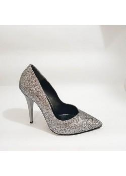 Gri Simli Topuklu Bayan Stiletto Abiye Ayakkabı