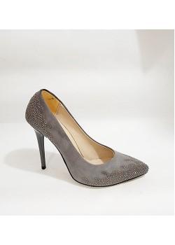 Süet Gri Taşlı Bayan Stiletto Abiye Ayakkabı