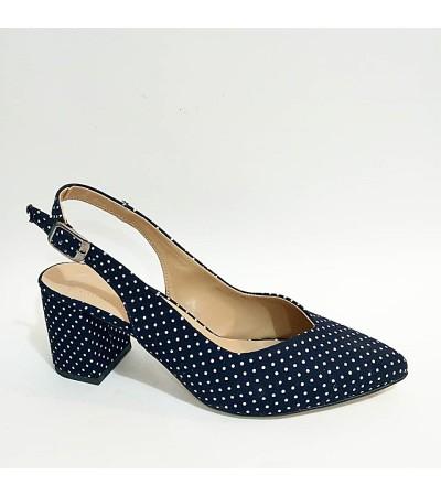 Kalın Topuk Puanlı Lacivert Bayan Stiletto Ayakkabı