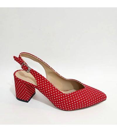 Kalın Topuk Puanlı Kırmızı Bayan Stiletto Ayakkabı