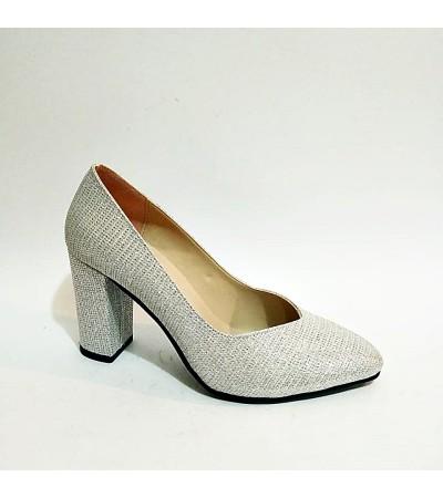 Kalın Topuk Simli Açık Gri Stiletto Bayan Abiye Ayakkabı