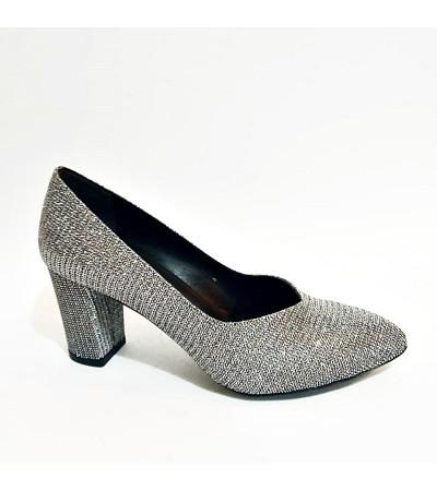 Kalın Topuk Simli Gri Stiletto Bayan Abiye Ayakkabı