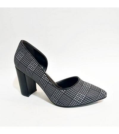 Kalın Topuk Ekoseli Gri Füme Stiletto Bayan Abiye Ayakkabı