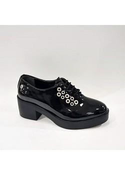 Pierre Cardin Siyah Rugan Kalın Topuk Bağcıklı Bayan Ayakkabı