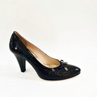 Atiker Hakiki Deri Siyah Rugan Stiletto Bayan Ayakkabı