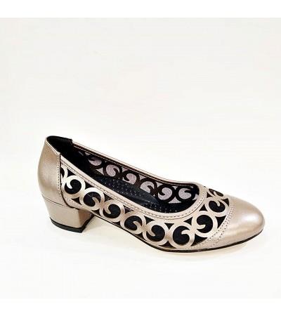 Kalın Topuk Gri Ortopedik Bayan Abiye Ayakkabı