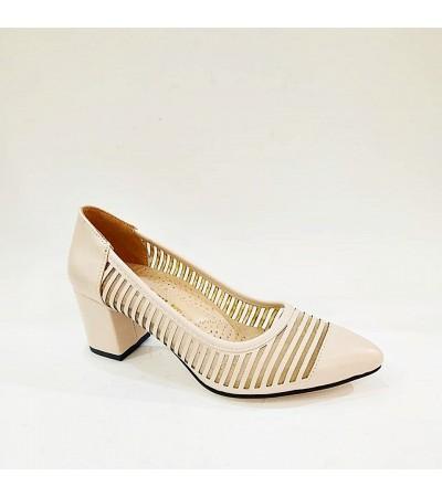 Kalın Topuk Ortopedik Krem Rengi Bayan Abiye Ayakkabı