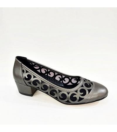 Kalın Topuk Füme Ortopedik Bayan Abiye Ayakkabı