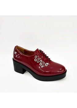 Pierre Cardin Bordo Rugan Kalın Topuk Bağcıklı Bayan Ayakkabı