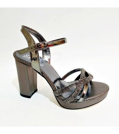 Füme Taşlı Simli Kalın Topuk Bilekli Abiye Bayan Ayakkabı