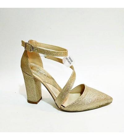 Kalin Topuk Simli Gold Bilekli Stiletto Abiye Bayan Ayakkabı