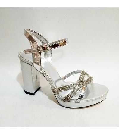 Gri Lame Taşlı Simli Kalın Topuk Bilekli Abiye Bayan Ayakkabı
