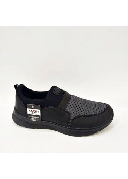 Siyah Gri Bağcıksız Yazlık Erkek Spor Ayakkabı