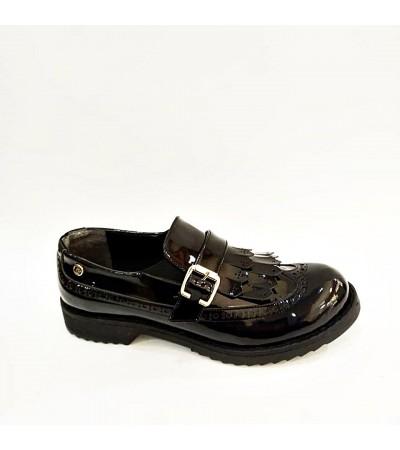 Pierre Cardin Siyah Rugan Bağcıksız Püsküllü Bayan Ayakkabı