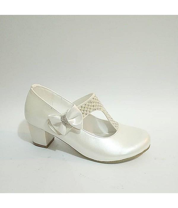Sanbe Cırtlı Taşlı Topuklu Sedef Beyaz Kız Çocuk Abiye Ayakkabı