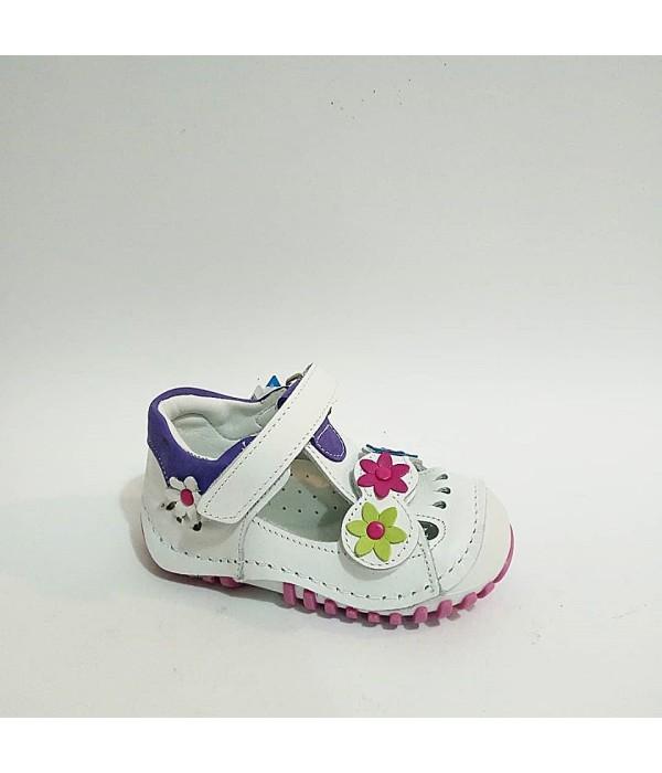 Sanbe Beyaz Mor Hakiki Deri Tam Ortopedik İlk Adım Kız Bebek Ayakkabısı