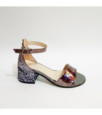 Sanbe Tek Bant Platin Topuklu Kız Çocuk Abiye Ayakkabı
