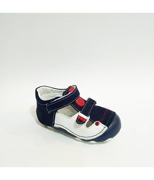 Sanbe Beyaz Lacivert Hakiki Deri Tam Ortopedik Cırtlı İlk Adım Erkek Bebek Ayakkabısı